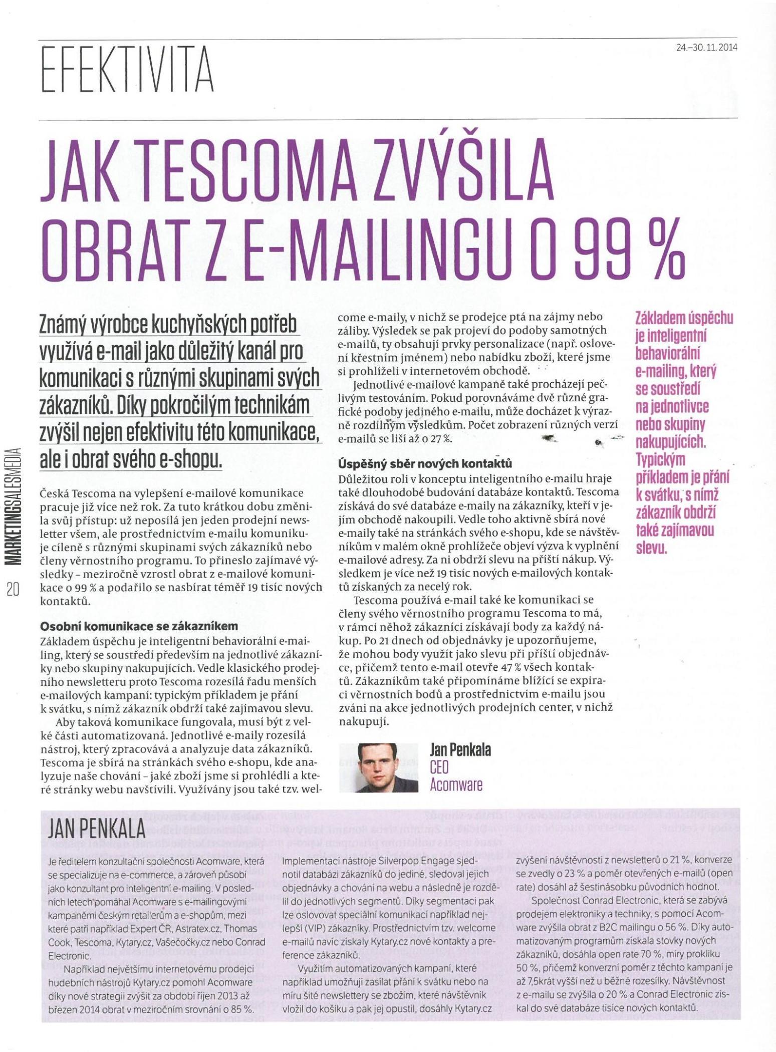 MSM-Jak Tescoma zvýšila obrat z e-mailingu