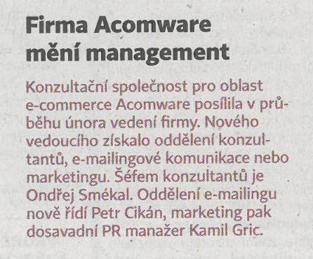 Hospodářské noviny - Firma Acomware mění management