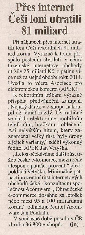 Právo-Přes internet Češi loni utratili 81 miliard