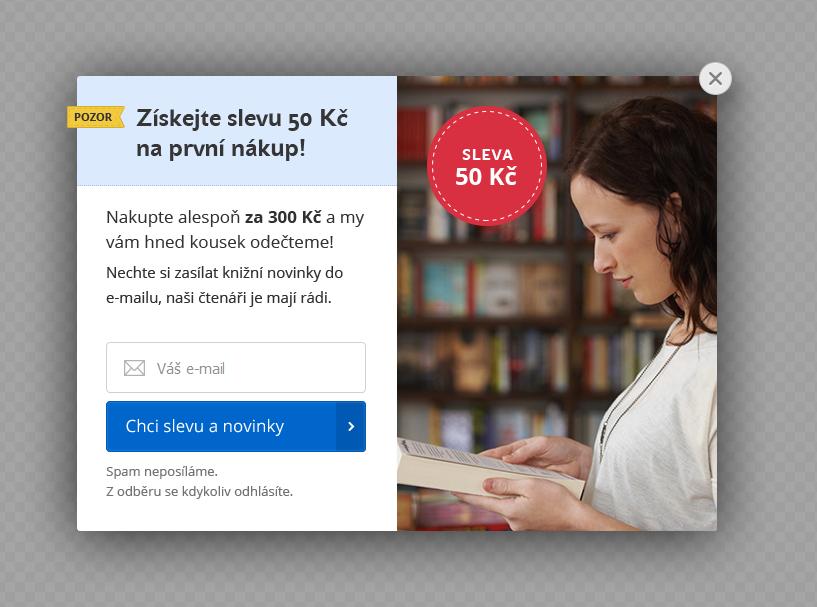 Ukázka jednoho z pop-upů na webových stránkách Knihy Dobrovský.